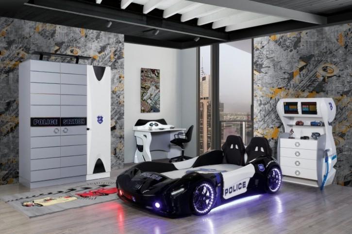 Autobett Kinderzimmer Police mit Sirene 6-teilig ohne Matratze