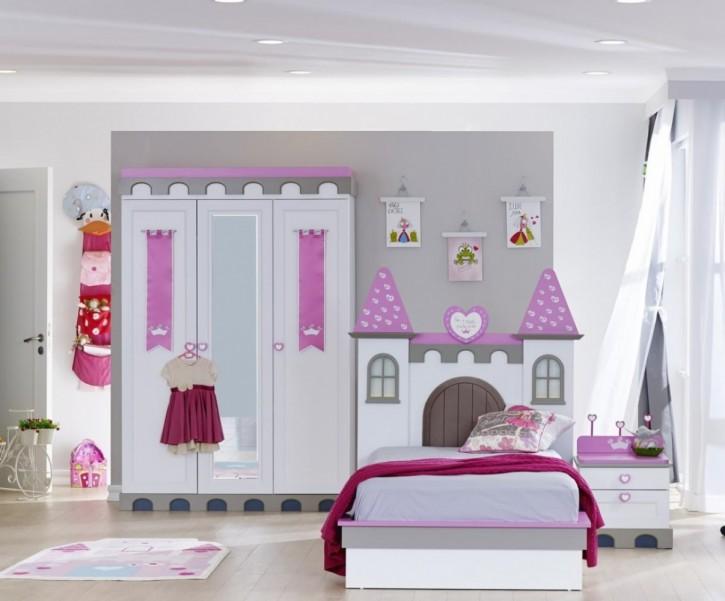 Kinderzimmer Castle Prinzesssin Schloss 3tlg. Herzgriffe