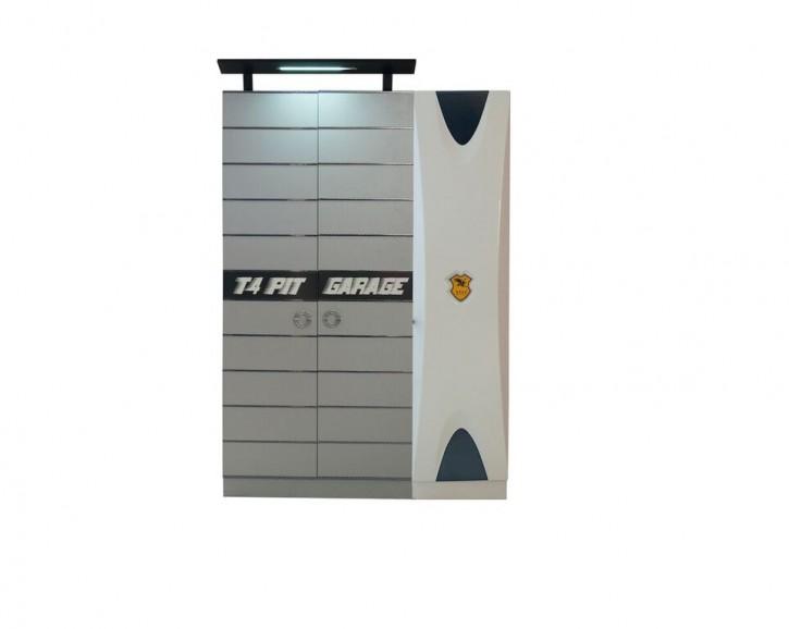 Kleiderschrank 3-türig Garage in Grau Weiß