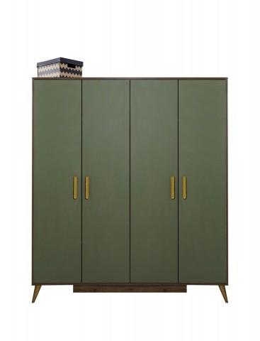 Kleiderschrank Trend 4-türig Olive / Holzoptik