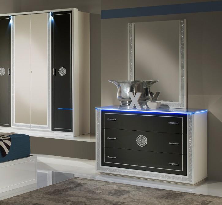 Kommode mit Spiegel Cristal in Schwarz Weiss Modern