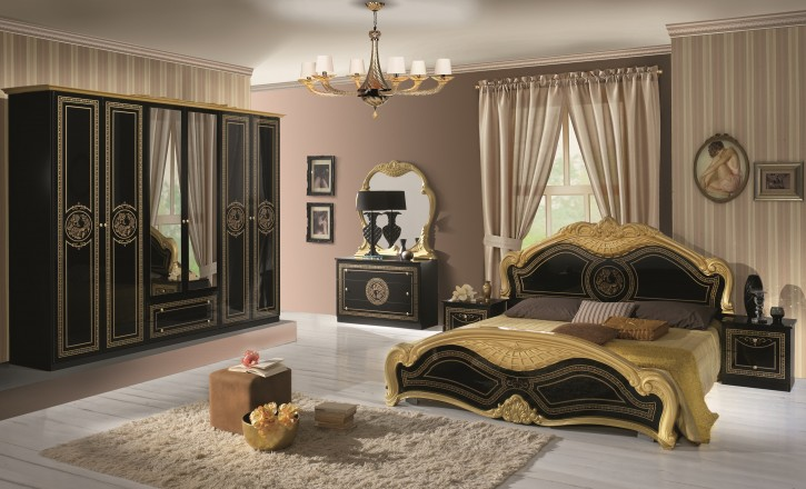 schlafzimmer liara in gold schwarz 6 trg luxus 160x200 dh. Black Bedroom Furniture Sets. Home Design Ideas