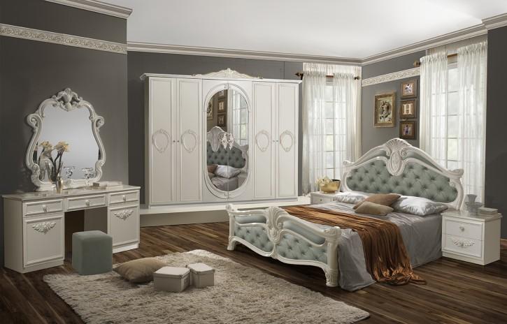 Schlafzimmer Set Letizia in Weiß Minze 160x200 cm