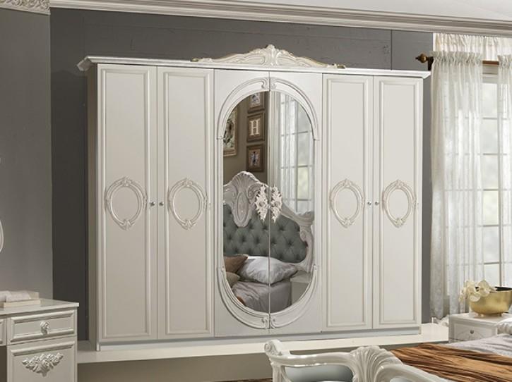 Kleiderschrank Letizia 6 trg  in Weiß Creme Barock Design