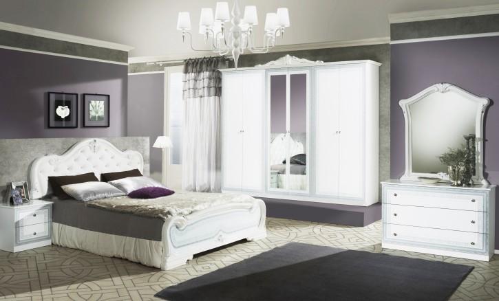 Schlafzimmer Set Lion in Weiss 7-teilig Barock Design mit Schrank 4 türig