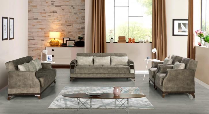 Sofa Couch Set Linda 3+2+1 in Grau mit Schlaffunktion
