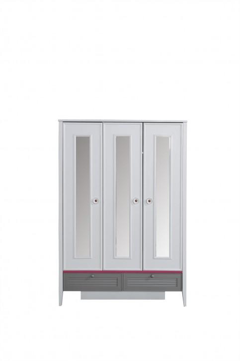 Kinderschrank Laila 3-türig mit Spiegeln in Weiß Grau