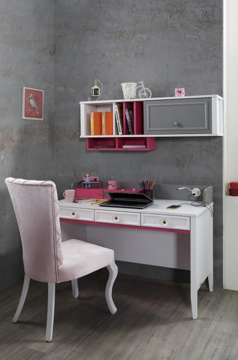 Schreibtisch mit Aufsatz Laila in Weiß, Grau Pink