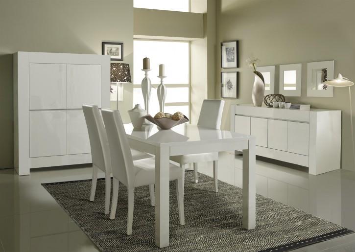 Esszimmerset Luna mit 4 Stühlen in Weiss Modern