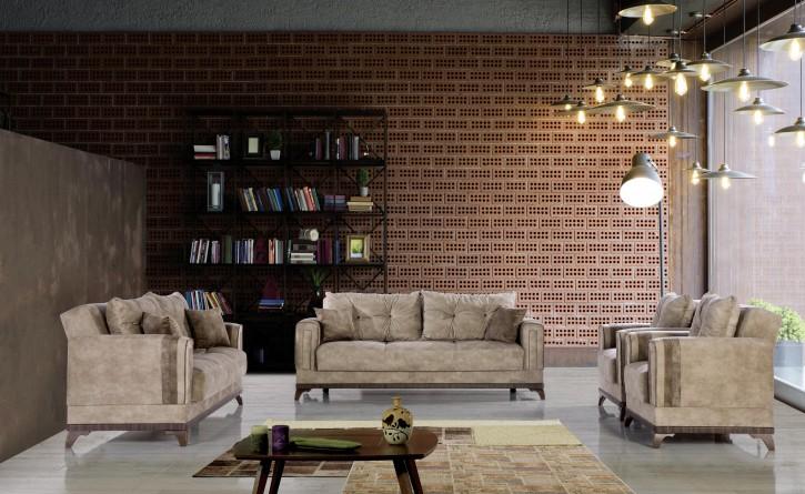 Sofa Couch Set Madrid 3+2+1 in Beige mit Schlaffunktion
