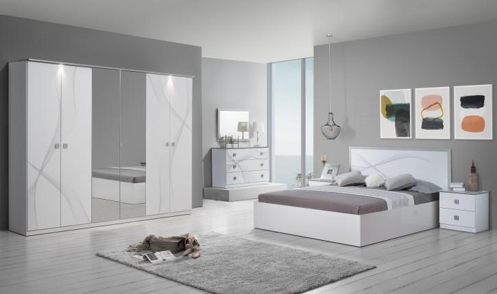 Schlafzimmer Matrix in Weiss Silber