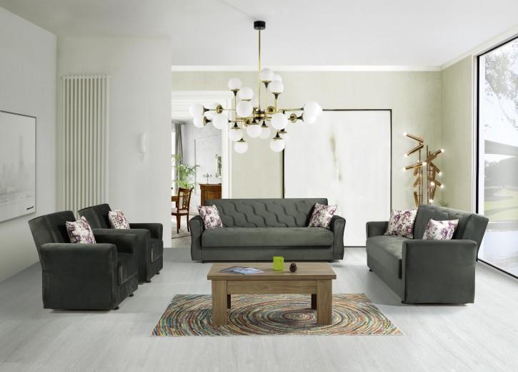 Sofa Couch Set Milan 3+2+1 in Grün mit Schlaffunktion