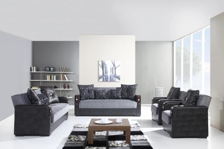 Sofa Couch Set Misra 3+2+1 in Grau mit Schlaffunktion