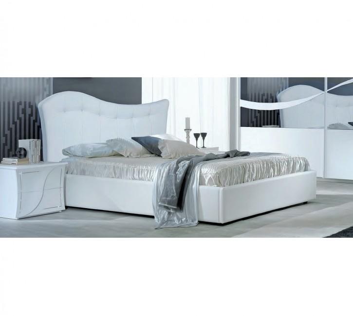 Doppelbett 160x190 cm in weiss modern Polsterkopfteil