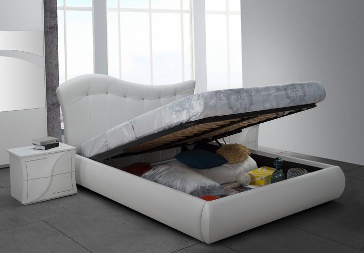 Bett Stauraumbett 160x190 cm weiss modern Polsterkopfteil mit Strasssteine