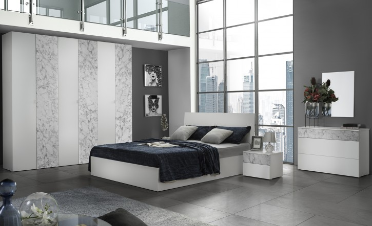 Schlafzimmer Set Mila Carrara in Weiss Modern Design