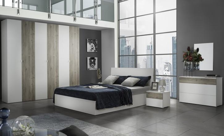 Schlafzimmer Set Mila Malta in Weiss  Holzoptik
