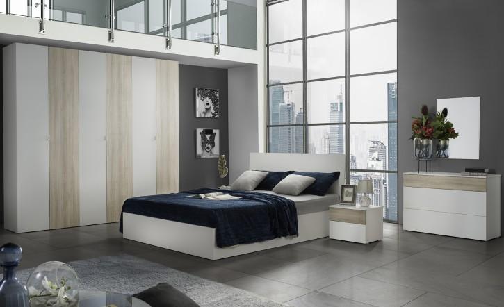 Schlafzimmer Set Mila  Sonoma in Weiss Beige Holzoptik