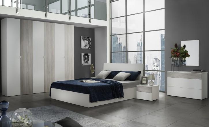 Schlafzimmer Set Mila Toronto in Weiss Beige Holzoptik