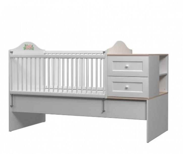 mitwachsendes Babybett Bianca mit Kommode 80x130-180 cm