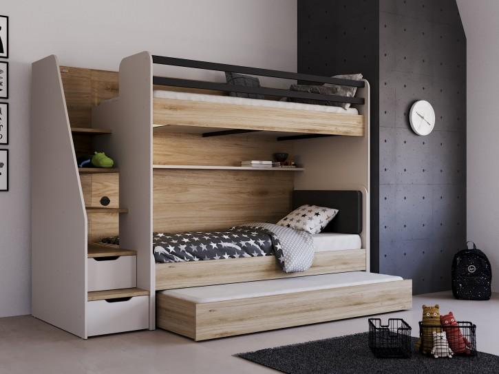 Hochbett Etagenbett New Option Set mit Bett und Bettkasten
