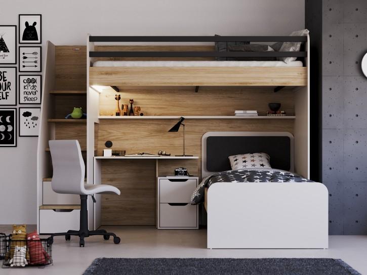 Hochbett New Option Set mit Bett Schreibtisch
