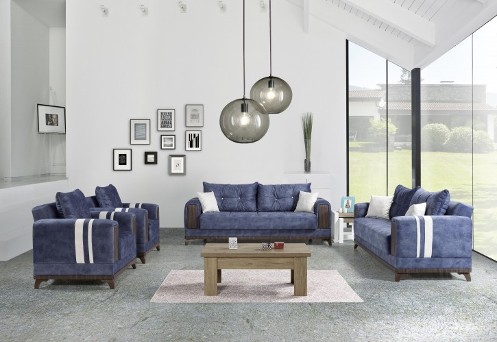 Sofa Couch Set Okyanus 3+2+1 in Blau mit Schlaffunktion