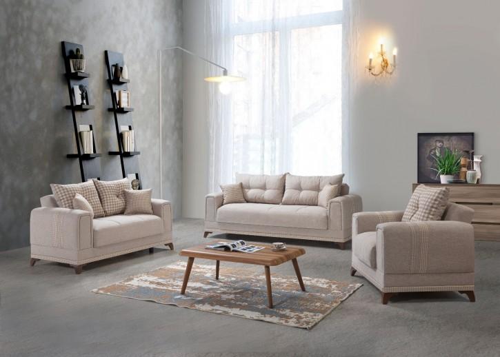Sofa Couch Set Okyanus 3+2+1 in Creme mit Schlaffunktion