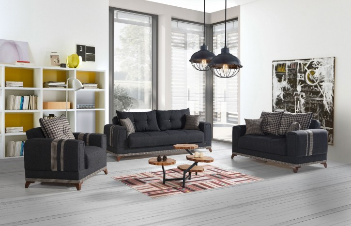 Sofa Couch Set Okyanus 3+2+1 in Grau mit Schlaffunktion