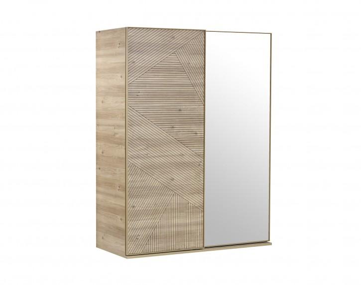 Schwebetürenschrank Origami mit Spiegel in Holzoptik