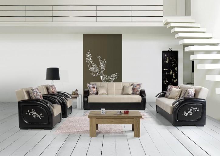 Sofa Couch Set Parma 3+2+1 in Beige Schwarz mit Schlaffunktion