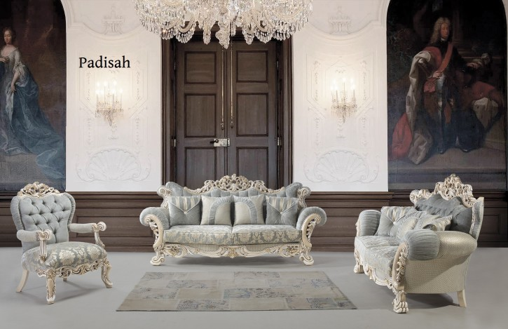 Couch Sofa Set Padisah 3+2+1 in Hellblau-Gold