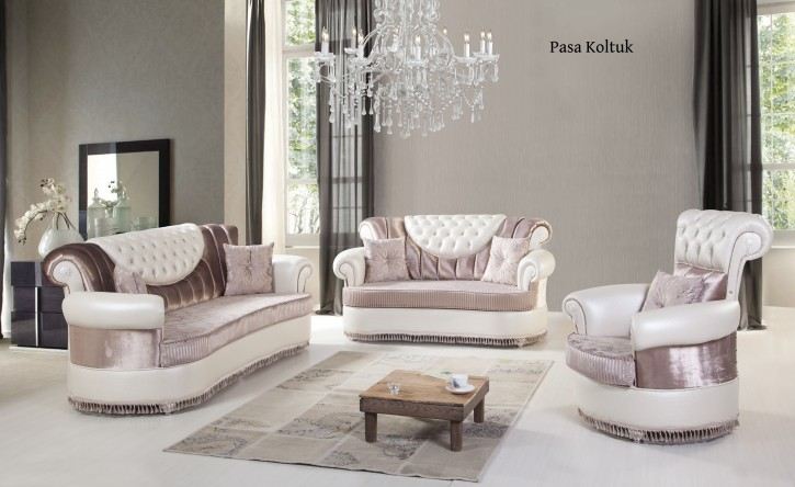 Sofa Set Pasa 3+2+1 in Rose-Weiss