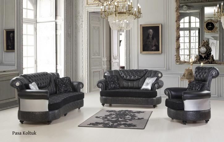Sofa Set Pasa 3+2+1 in Schwarz-Silber