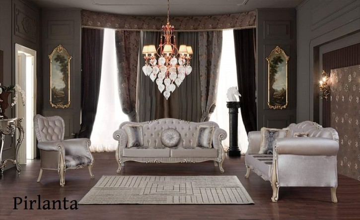 Sofa Set Pirlanta 3+2+1 in Weiss