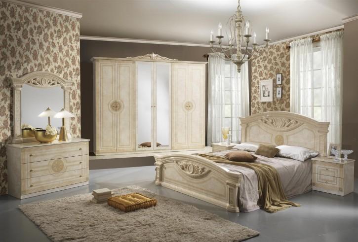Schlafzimmer Rana Creme Beige 6 Türig Schrank 160 Bett Luxus Design