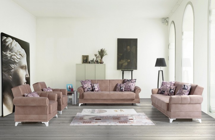 Sofa Couch Set Royal 3+2+1 mit Schlaffunktion