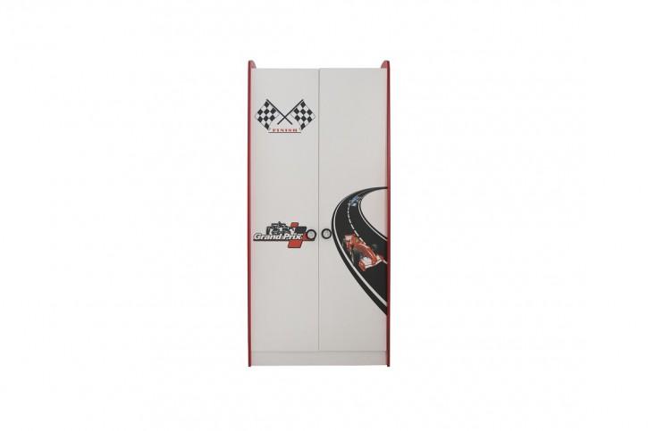 Racer Kinder Kleiderschrank 2-türig in Weiß Rot mit Motiven