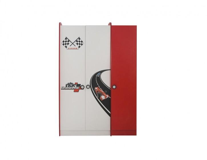 Racer Kinder Kleiderschrank 3-türig in Rot Weiß