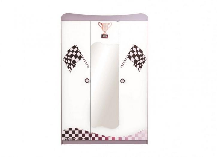 Kleiderschrank GT Racer 3-türig in Weiß