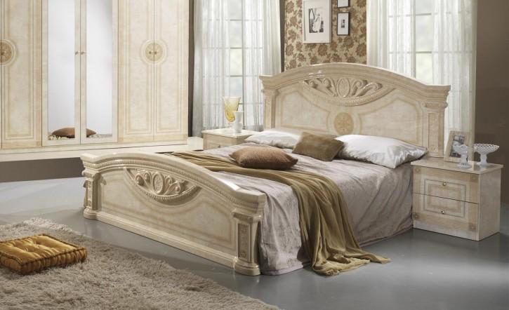 Bett Rana 180x200cm beige creme Designer Stilmöbel aus Italien