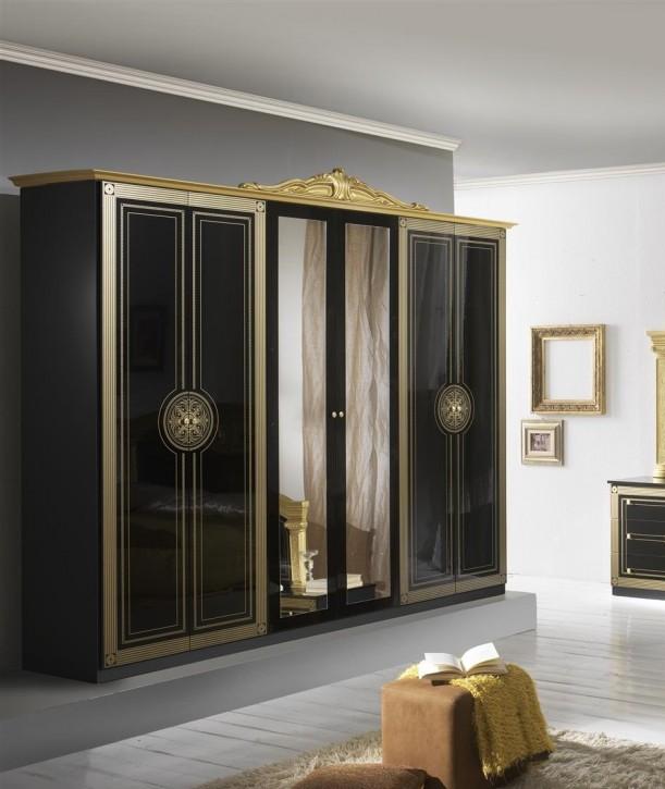Kleiderschrank 6 türig Rana schwarz gold Klassik Barock Italien