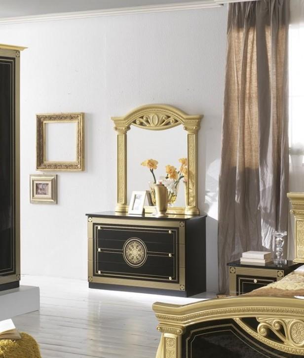 Kommode mit Spiegel Rana schwarz gold Klassik Barock Luxus
