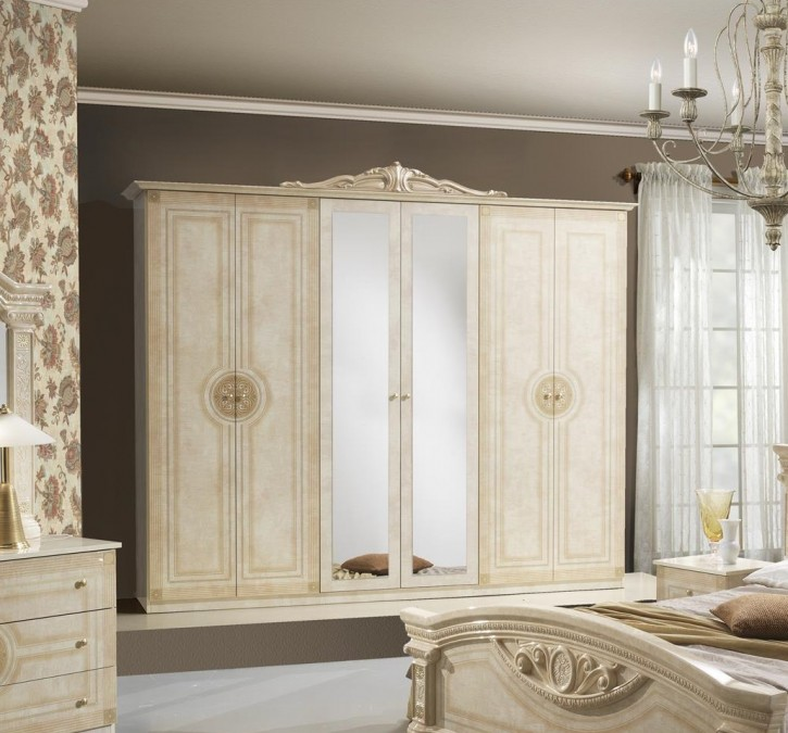 Kleiderschrank 6 türig Rana Creme Beige Klassik Barock
