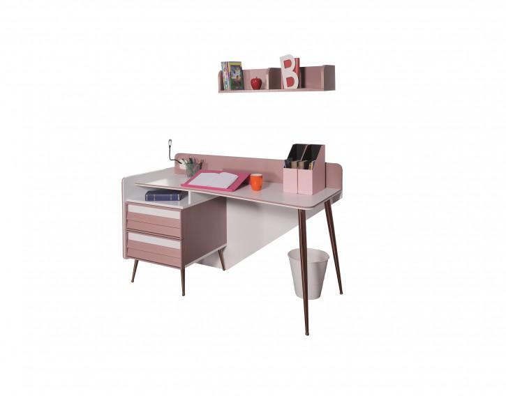 Schreibtisch Rosee in altrosa weiss