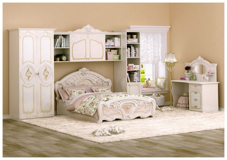 Kinderzimmer Rozza in beige Hochglanz Barock Klassik Möbel ohne Matratze