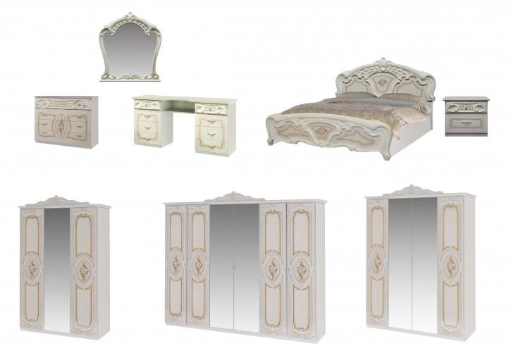 Schlafzimmer Rozza in Beige Creme Klassik Barock Design
