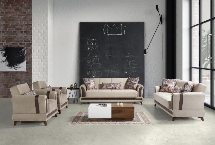 Sofa Couch Set Sahra 3+2+1 in Beige mit Schlaffunktion