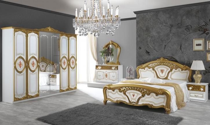 Schlafzimmer Samanta in Weiss/Gold Barock 6-Tlg.