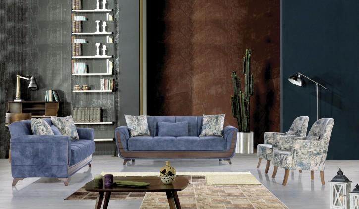 Sofa Couch Set Saray 3+2+1 in Blau mit Schlaffunktion